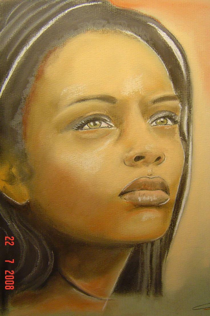 Jeune fille de la r union pastel portrait dessin la main peinture art selected by raymond - Dessin au pastel sec ...