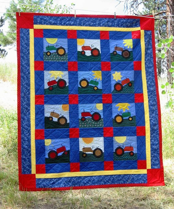 Tractors Twin CustomMade Quilt by OregonNatural on Etsy, USD 235.00 Tractor Decor Pinterest ...