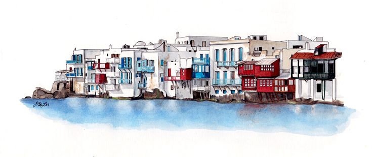 Watercolor, pen and ink of Little Venice in Mykonos, Greece by artist Esther BeLer Wodrich