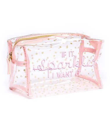 Loving this Pink 'If It Sparkles I Want It' Cosmetic Bag on #zulily! #zulilyfinds
