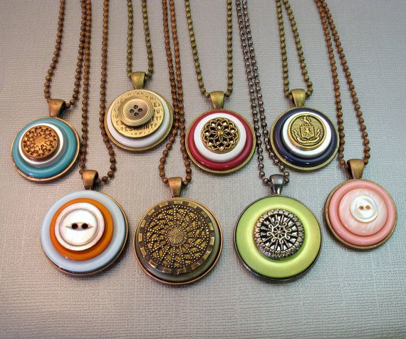 Orange Button Necklace Pendant Button Jewelry by BluKatDesign