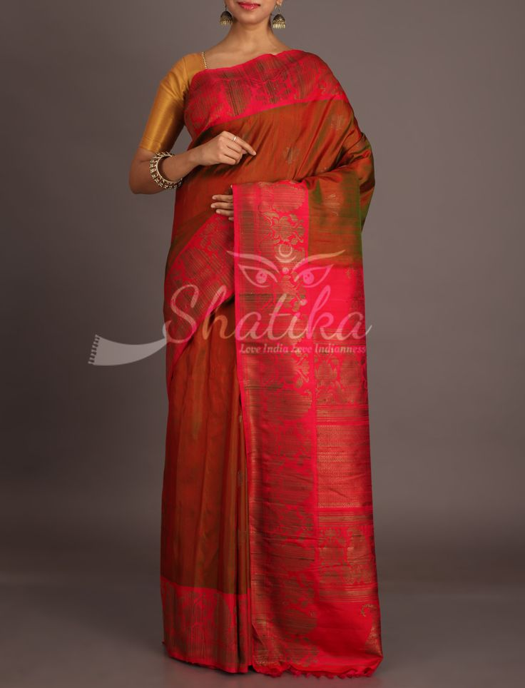 Avani Earthen Brown With Cherry Red Classic Jute Silk Saree