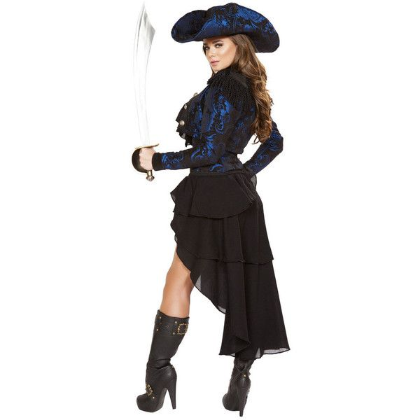 Blackbeard's First Mate Girl Pirate Halloween Costume ($178) ❤ liked on Polyvore featuring costumes, halloween, sexy pirate costume, pirate costume, sexy pirate halloween costume, sexy costumes and pirate halloween costume