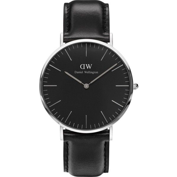 Daniel Wellington Classic Sheffield stainless steel watch (225 CAD) ❤ liked on Polyvore featuring jewelry, watches, leather-strap watches, daniel wellington watches, black dial watches, stainless steel jewellery and daniel wellington