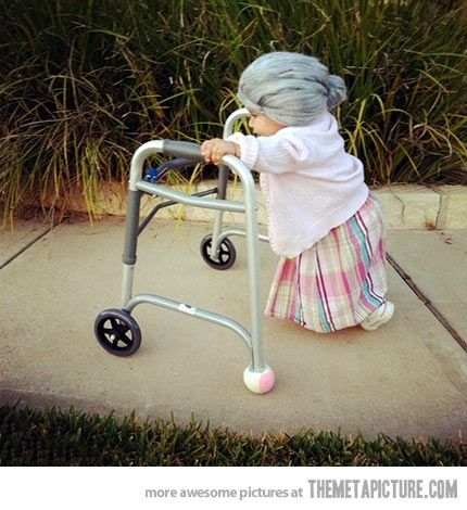 1-2 year-old Halloween costume as a Little Old Lady