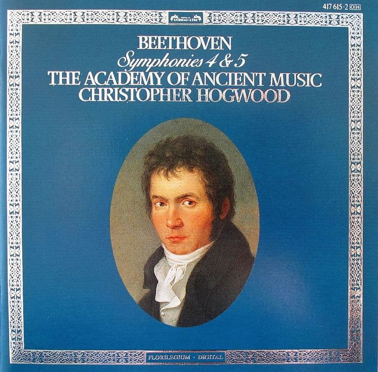 """Ludwig Van Beethoven """"Symphony No.4 in B flat major, Op.50"""" and """"Symphony No.5 in C minor, Op.67"""". Performed by the Academy of Ancient Music conducted by Christopher Hogwood. Played on authentic instruments. Label: L'Oiseau Lyre, 1987. Disc made in W. Germany."""
