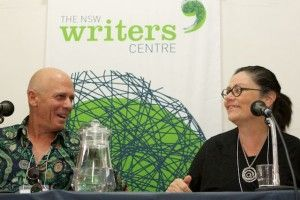 David Leser and Monica Attard share a laugh during the 'Horror Stories from the Job' panel at the 2013 Creative Non Fiction Festival.