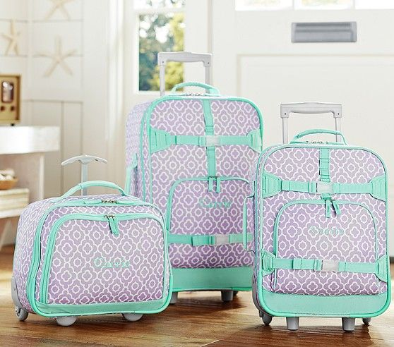 Mackenzie Lavender Moroccan Geo Luggage | Pottery Barn Kids Stowaway rolling luggage