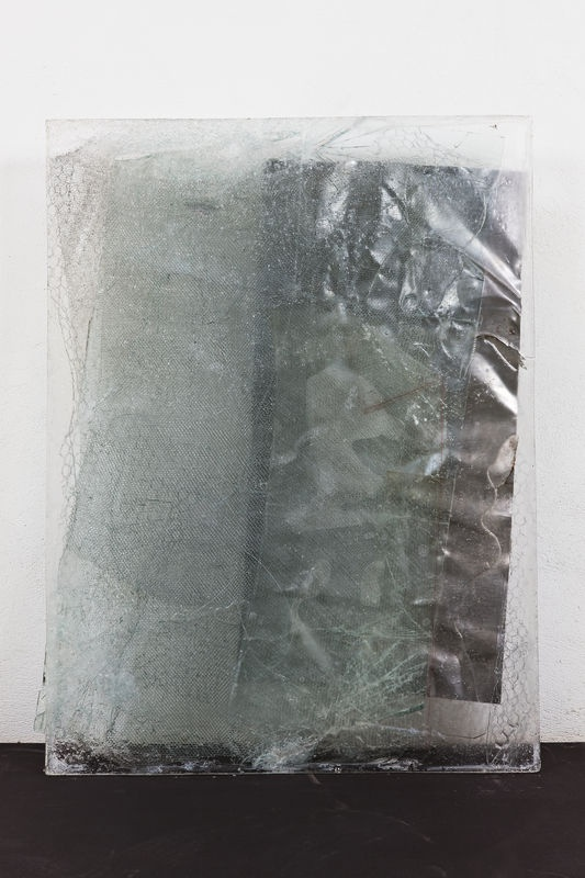 Oscar Tuazon  How  2009  Mixed media; polyurethane, steel mesh, broken security glass