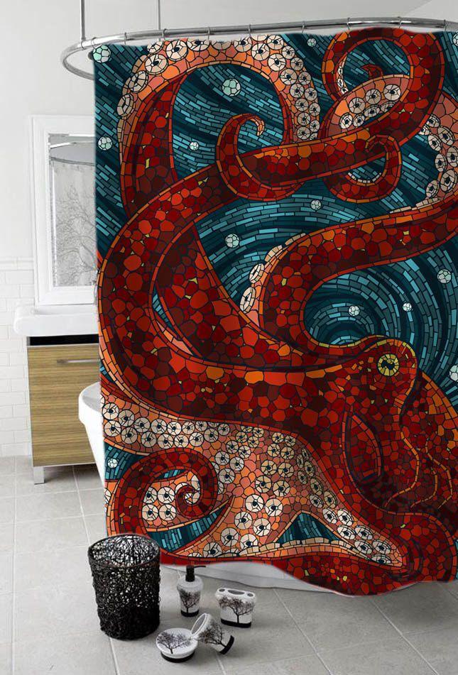 mosaic octopus Custom Shower Curtain Funny Shower Curtain size 36x72,48x72,60x72,66x72 by kreyeZZkreyeSS on Etsy https://www.etsy.com/listing/220337076/mosaic-octopus-custom-shower-curtain
