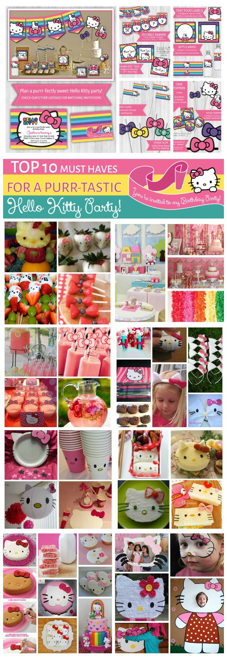 Hello Kitty Party Decor, Ideas, Food, DIY, Sweets, Invitations, Printables... Everything you need to throw a Purrrr-Tastic Hello Kitty Party!