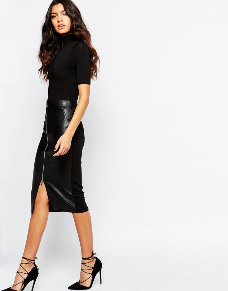 River Island Zip Front Faux Leather Skirt. Black sexy skirt. More skirts to wear this fall >>> http://justbestylish.com/10-stylish-skirts-to-wear-this-fall/