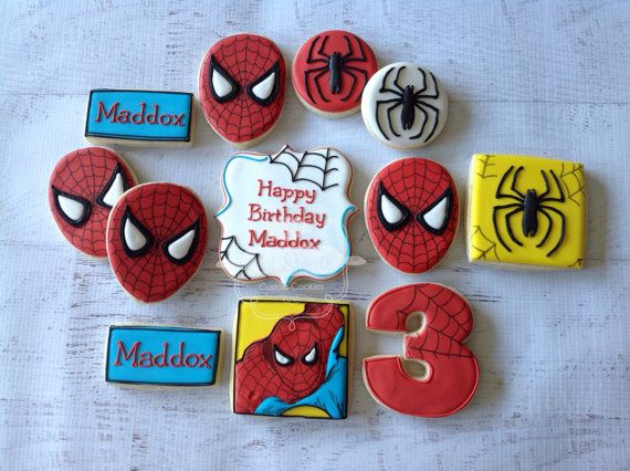 2 dozen spiderman cookies by NatSweetsCookies on Etsy