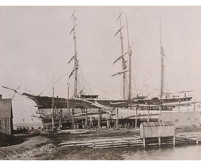 "The barque ""Gazelle"" was built at River John, Pictou County, NS, Canada. She was 999 tons net and was the last square-rigged ship on the Pictou register. She was mostly in the South American trade and on one occasion her whole crew died of yellow fever in Santos, and a new crew had to be found to take her out. This picture was taken in 1901 or 1902 and shows the barque hauled out on Yorstan Bros. slip in Pictou. In 1903 she was sold to a Russian firm and passed off the Pictou register."