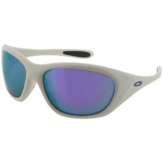 """Oakley Ladies """"Disclosure"""" Pearl White Wrap Sport Sunglasses. Model Number: OO9130 03. The perfect sunglasses for the active girl, Oakley Disclosure™ is always ready to play. When you want performance and comfort without sacrificing style, this is the pair to wear."""