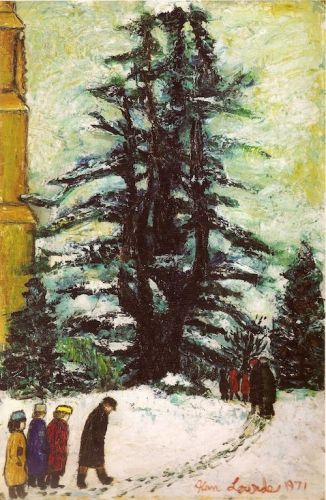 """Leaving Church in the Snow"" by Alan Lowndes, 1971 (oil on board)"