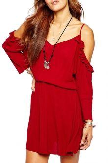 Spaghetti Strap Ruffles Red Tunic Dress