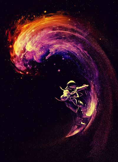 Awesome!!! | Space Surfing Art Print