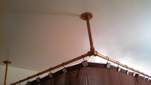 Diy Faux Brass Shower Curtain Rod Shape We And Curtain Rods