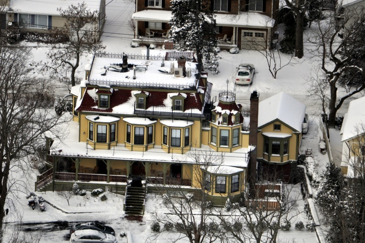 Aerial view of the Cliffside Inn, in the rare snow we had last winter.