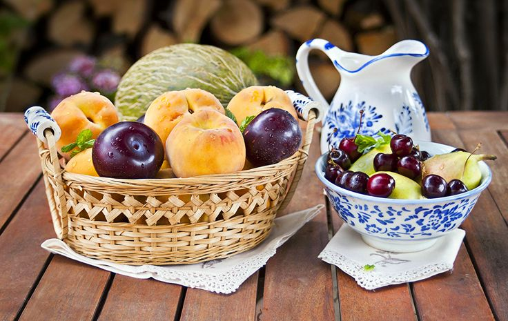 Обои Сливы Кувшин Персики Черешня Еда Фрукты Вишня Пища Продукты питания