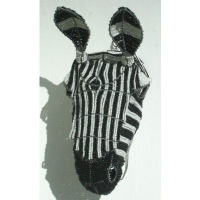 Wire beaded beautifully crafted zebra head wall hanging – handmade in Africa