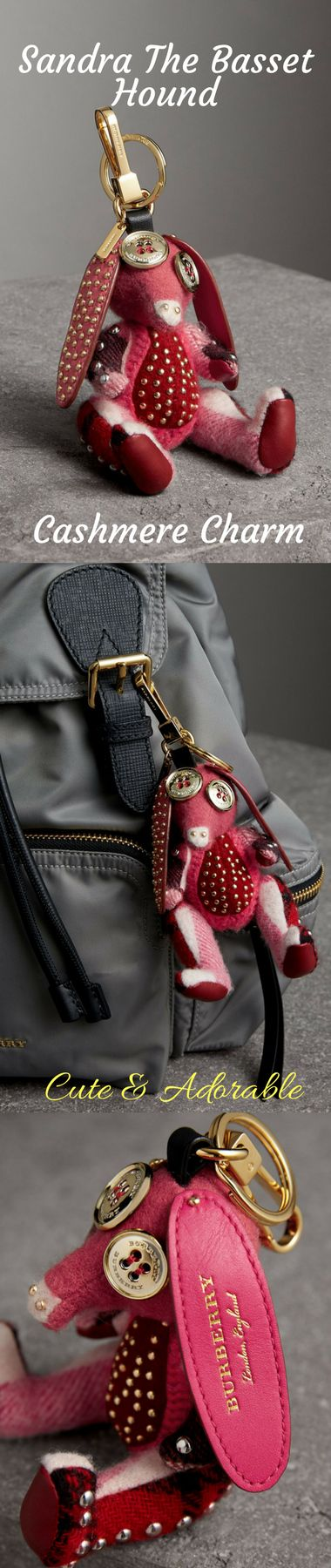 A charm in studded cashmere and leather. The Burberry Clan is a group of charming creatures lost and found in our design studio. Playful mismatches of fabrics and fastenings are stitched together to create the whimsical new characters. Attach to a day bag for an animated accent. #burberry #love #charms #handbagAccessories #keychains #luckyCharm #realtorGifts #giftIdeas #giftsForHer #birthdayGifts #ChristmasGifts #cute #fab #ad