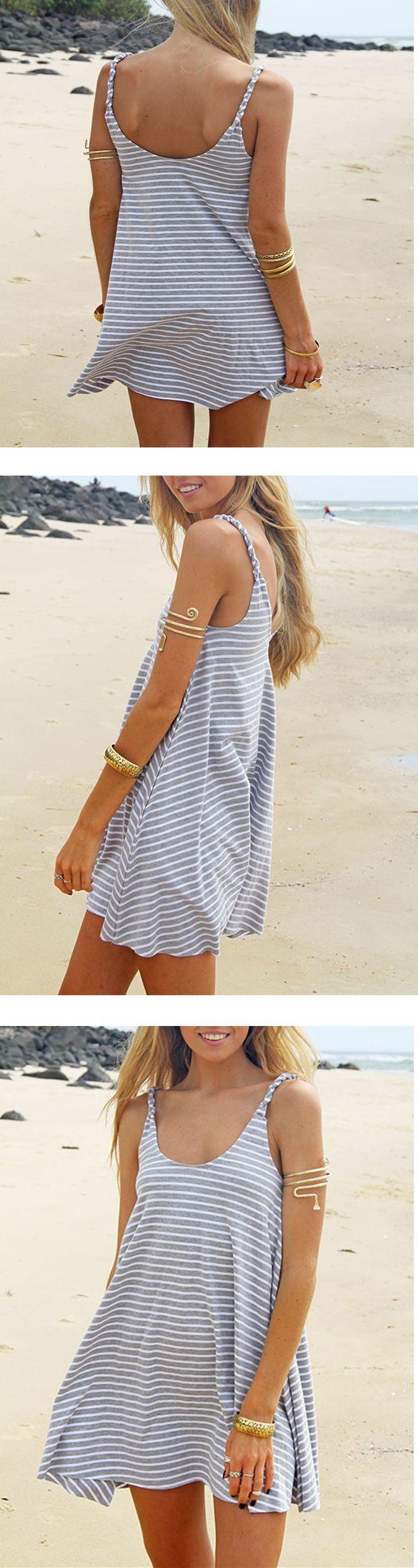 Grey Spaghetti Strap Striped Dress