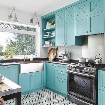 Blue Kitchen Cabinets With Black Quartz Countertops