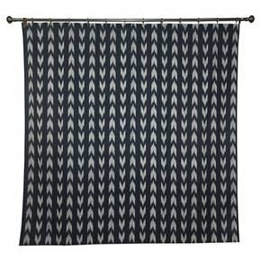 "Make a bold design statement in the master bath, guest bath or kids' bath with the Shower Curtain Ikat Look Shower Curtain (72""x72"") Black - Threshold. It adds a bold pop of black and white color and a fresh pattern to your décor. Mixes easily with patterned or solid towels. Curtain rod, liner and hooks sold separately."