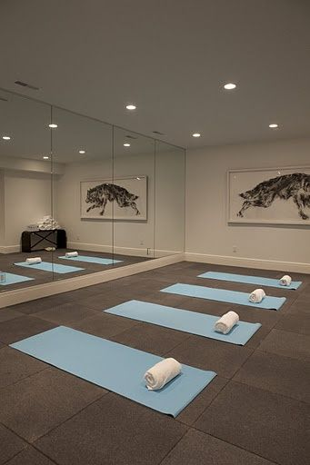 TURNING A ROOM IN THE HOUSE INTO A YOGA STUDIO | At home yoga turn dance studio! LOVE! Now the opposite wall needs to ...