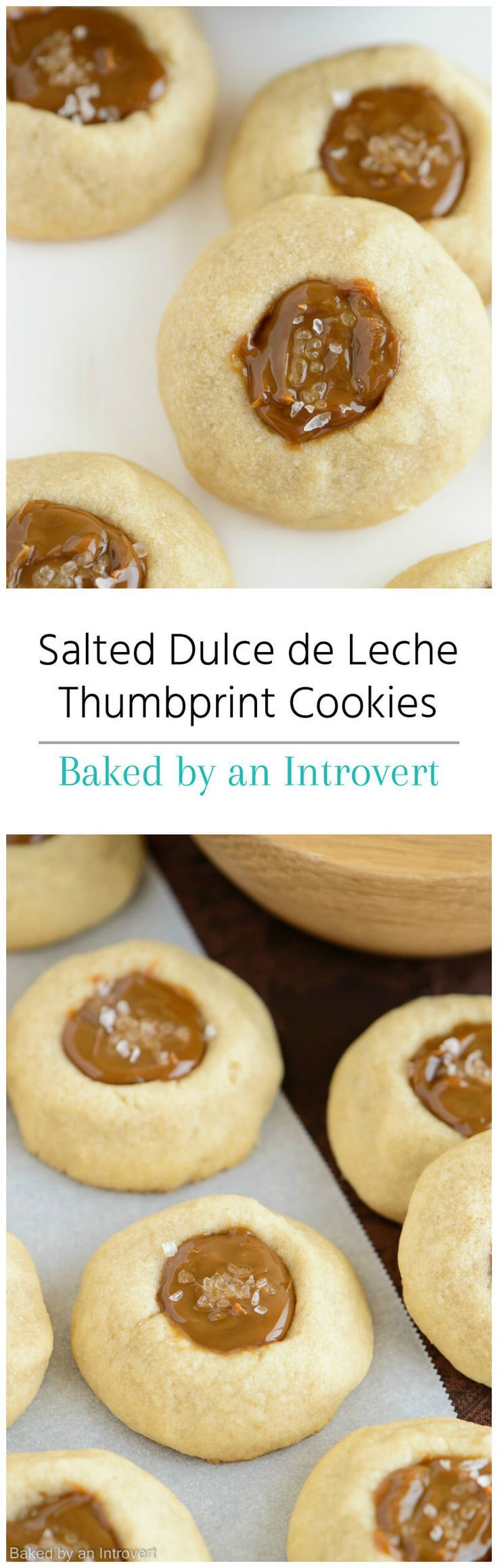 Salted Dulce de Leche Thumbprint Cookies Recipe from http://bakedbyanintrovert.com