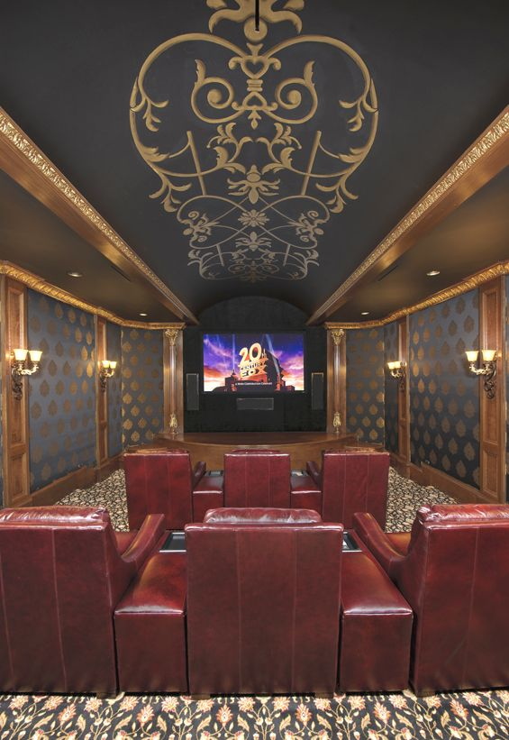 The Home Theater Room Features Multi Level Seating Rich