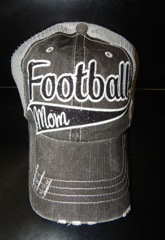 GLITTER Football Mom Hat