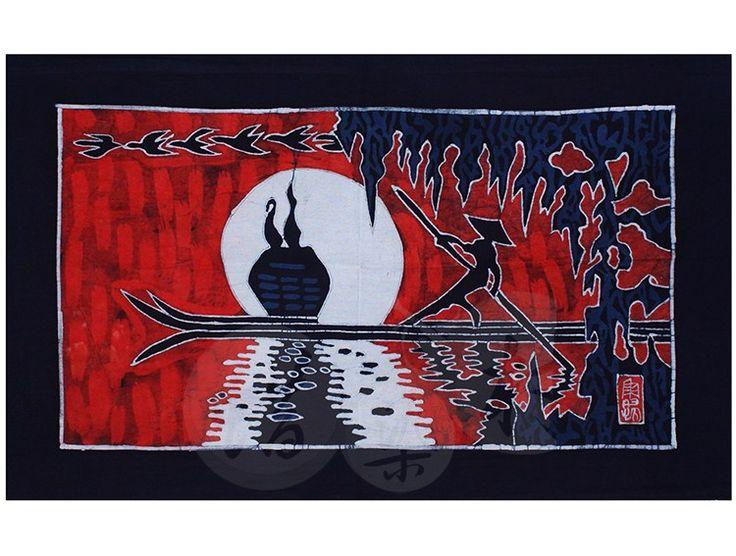 贵州苗族手工蜡染画壁画民族特色装饰画布艺装饰画 渔归50x80cm-淘宝网