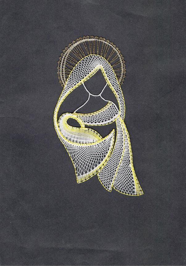 Madona s ježíškem Madona je upaličkována z bavlněných nití, podle mého vlastního návrhu. Obrázek je bez rámečku Rozměr: 18,5 x 10,5 cm K dispozici je také podvinek 28 Kč