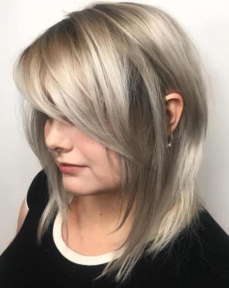Long Layered Bob With Side Bangs- very nice color!