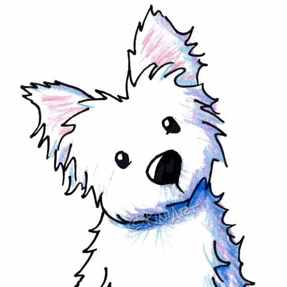 Framed Original Westie Dog Art Illustration FROM Childrens Book West Highland Terrier Fur And