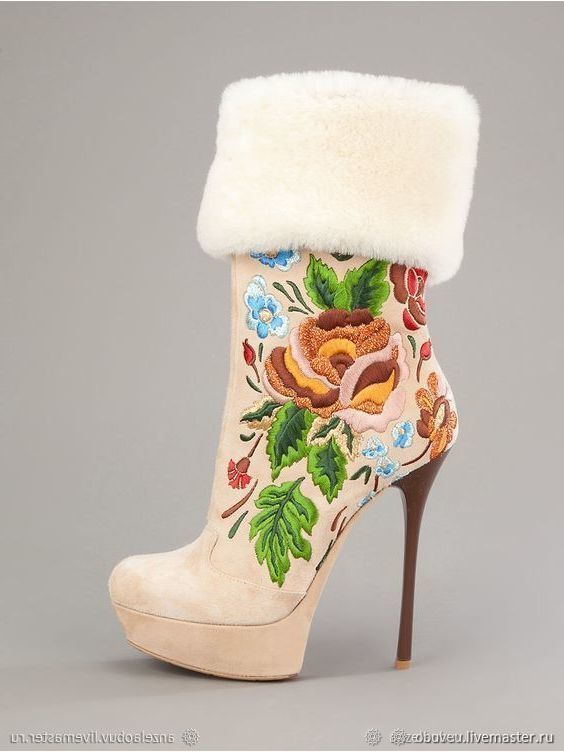 Buy Ankle boots suede winter with embroidery and genuine sheepskin on Livemaster online shop