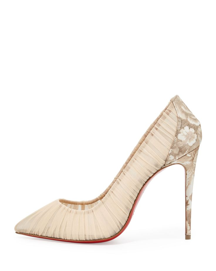 """Christian Louboutin ruched silk pump. Marbled rose-print heel counter. 4""""…"""