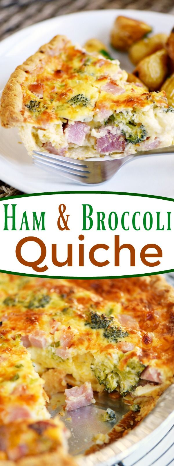 This easy Ham and Broccoli Quiche will be the star of the show no matter when you serve it! Great for breakfast, brunch and dinner!