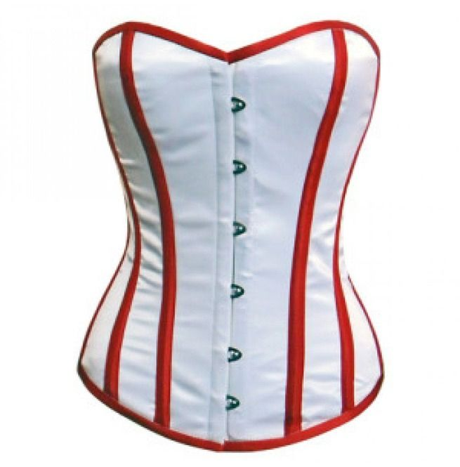 White Satin Double Bone Waist Training Bustier Gothic Burlesque Underbust Corset