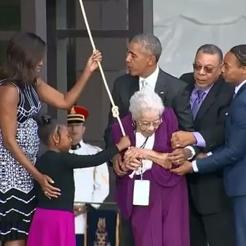 """#Repost @whitehouse ・・・ """"Let us now open this museum to the world."""" Along with four generations of the Bonner family—a family whose history weaves from slavery to Reconstruction to Jim Crow to the present day—the President and First Lady @MichelleObama rang the bell of one of the oldest black churches in America to mark the opening of the Smithsonian National Museum of African American History and Culture (@NMAAHC). #apeoplesjourney #nmaahc #apeoplesjourney #smithsonian #museum…"""