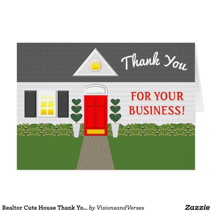 realtor cute house thank you card  zazzle