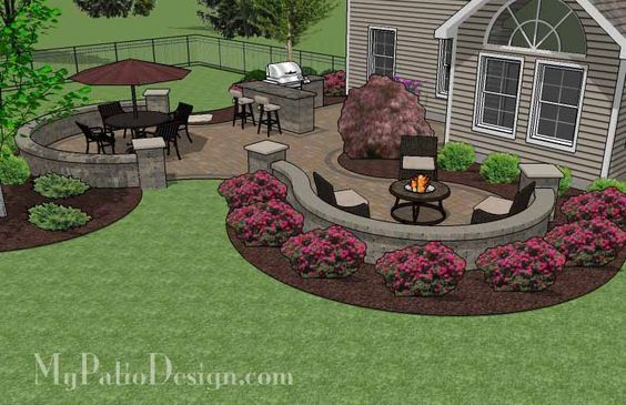 Nice Large Paver Patio Design With Grill Station + Bar. | Plan No. 1155rr |