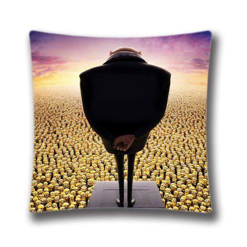 Zipper Design Despicable Me Gru And Minions Throw Pillowcase 18x18 inches Pillow Sham (Twin sides)  @ niftywarehouse.com #NiftyWarehouse #Geek #Gifts #Collectibles #Entertainment #Merch