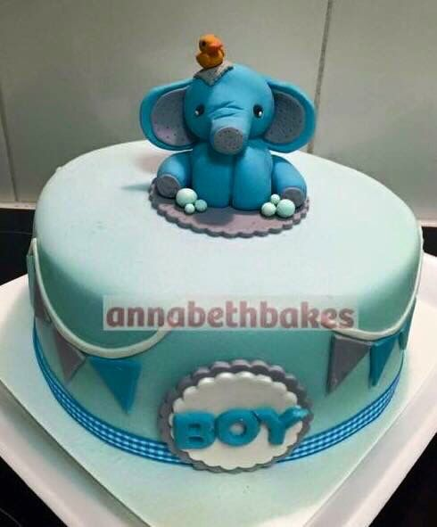 Elephant with rubber duck baby shower cake - annabethbakes