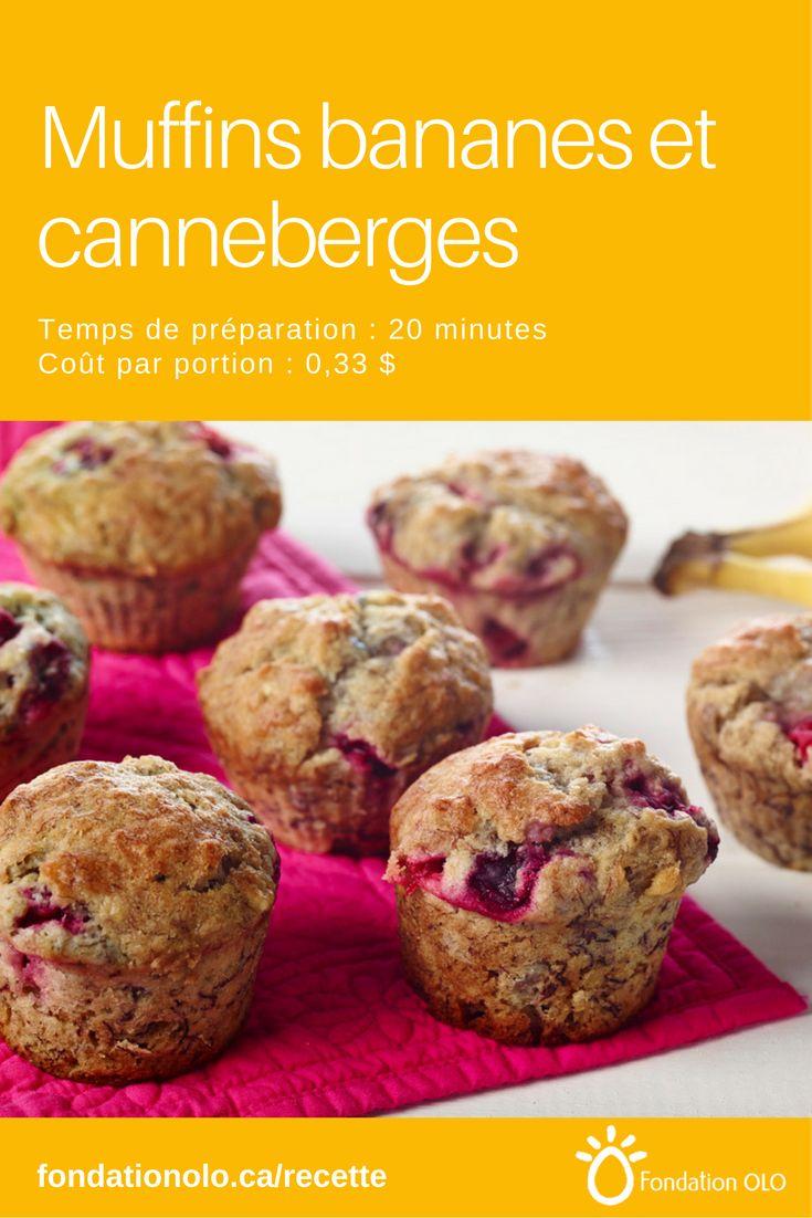 Une recette de base de muffins aux bananes et canneberges. Donne 12 muffins au coût de 0,33$ par muffin. Ils se congèlent et se préparent 20 minutes. --- Recette facile, Recette économique, Recette rapide, Recette nutritive --- #Muffin #Collation