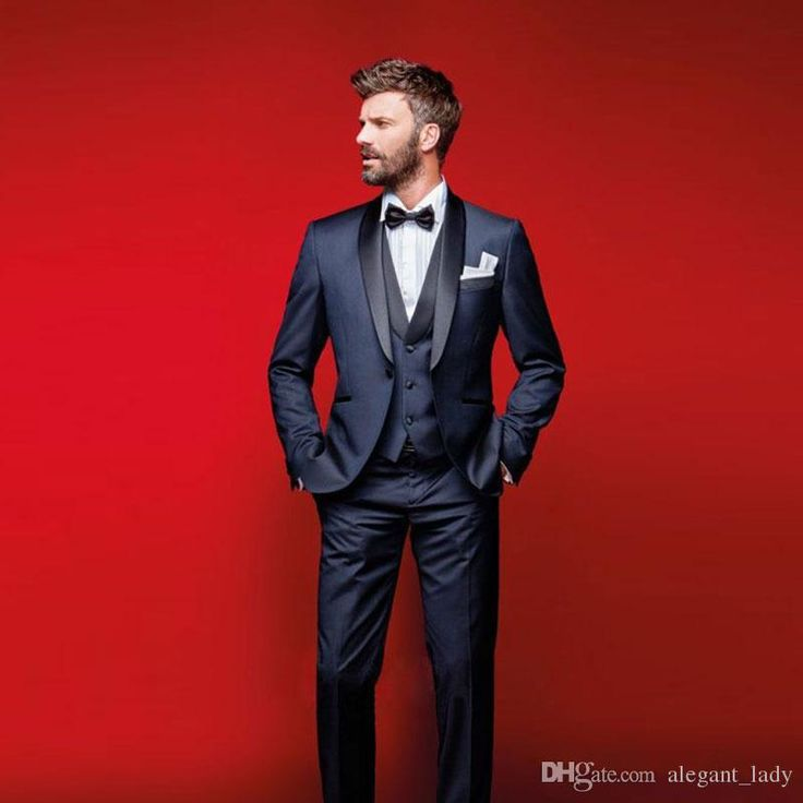 Classy Navy Blue Wedding Tuxedos Slim Fit Suits For Men Groomsmen Suit Three Pieces Cheap Prom Formal Suits Jacket +Pants+Vest+Bow Tie Men Vest Groom Vest Wedding Waistcoat Online with $99.43/Piece on Alegant_lady's Store | DHgate.com