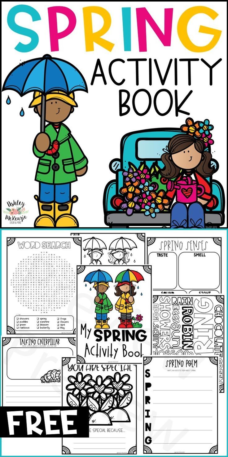Spring activity book freebie with spring poems, spring coloring pages, and spring word searches!